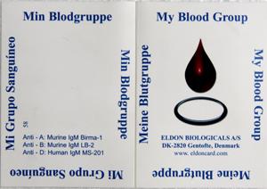 Mặt trước của Thẻ nhóm máu cá nhân EldonCard ID