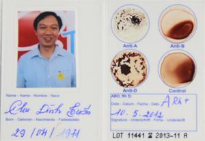 Mặt sau của Thẻ nhóm máu cá nhân EldonCard ID